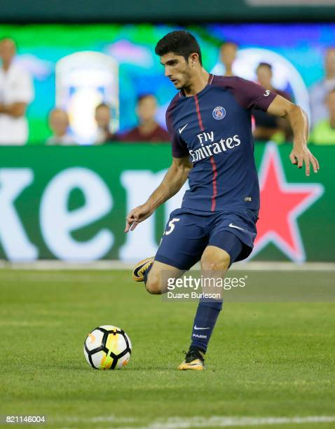 Goncalo Guedes of Paris SaintGermain kicks the ball away during the second half of a match against AS Roma at Comerica Park on July 19 2017 in...