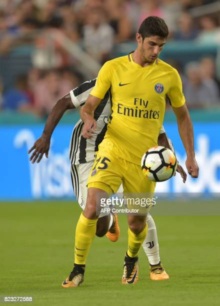 Goncalo Guedes of Paris SaintGermain kicks the ball during their International Champions Cup football match on July 26 2017 at the Hard Rock Stadium...