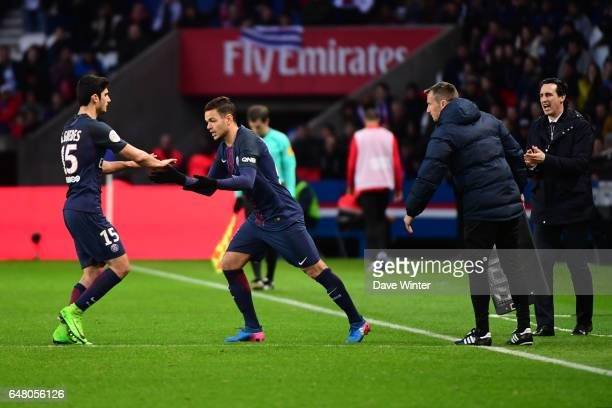 Goncalo Guedes of PSG is replaced by Hatem Ben Arfa of PSG during the French Ligue 1 match between Paris Saint Germain and Nancy at Parc des Princes...