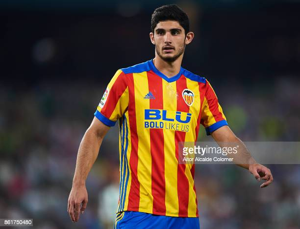 Goncalo Guedes of Valencia CF looks on during the La Liga match between Real Betis and Valencia at Estadio Benito Villamarin on October 15 in Seville