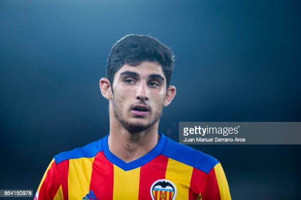 Goncalo Guedes of Valencia CF reacts during the La Liga match between Real Sociedad de Futbol and Valencia CF at Estadio Anoeta on September 24 2017...