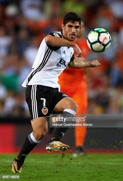Goncalo Guedes of Valencia in action during the La Liga match between Valencia and Malaga at Estadio Mestalla on September 19 2017 in Valencia Spain