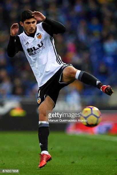 Goncalo Guedes of Valencia in action during the La Liga match between Espanyol and Valencia at CornellaEl Prat stadium on November 19 2017 in...
