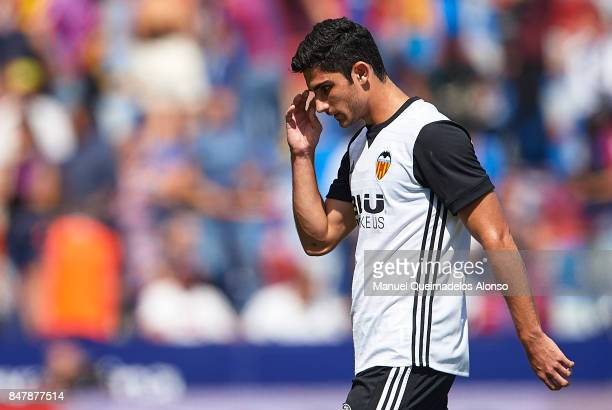Goncalo Guedes of Valencia leaves the pitch after the La Liga match between Levante and Valencia at Ciutat de Levante Stadium on September 16 2017 in...