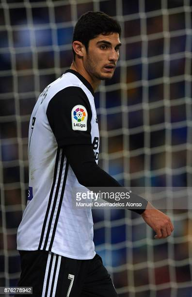 Goncalo Guedes of Valencia looks on during the La Liga match between Espanyol and Valencia at CornellaEl Prat stadium on November 19 2017 in...