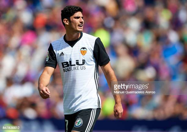 Goncalo Guedes of Valencia reacts during the La Liga match between Levante and Valencia at Ciutat de Levante Stadium on September 16 2017 in Valencia...