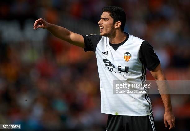 Goncalo Guedes of Valencia reacts during the La Liga match between Valencia and Leganes at Mestalla Stadium on November 4 2017 in Valencia Spain