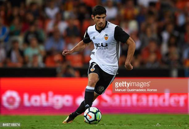Goncalo Guedes of Valencia runs with the ball during the La Liga match between Valencia and Malaga at Estadio Mestalla on September 19 2017 in...