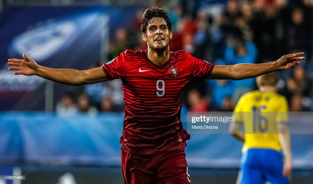 Goncalo Paciencia of Portugal celebrates his goal during UEFA U21 European Championship Group B match between Portugal and Sweden at Mestsky Fotbalovy Stadium on June 24, 2015 in Uherske Hradiste, Czech Republic.