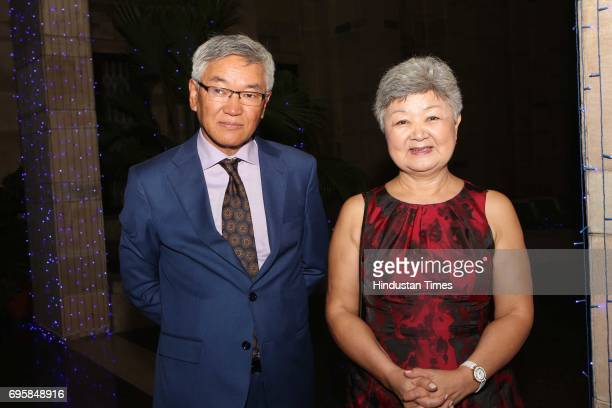 Gonchig Ganbold and Mash Badrakh during the celebration of the National Day of Russia hosted by the Embassy of the Russian Federation on June 12 2017...