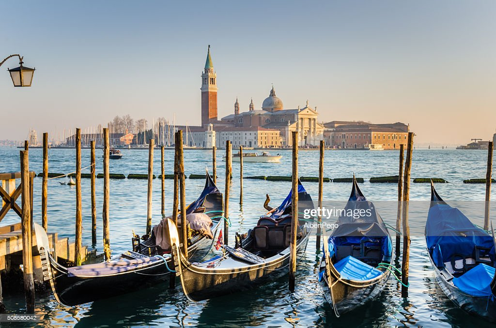 Gondoals in Venice at Sunset : Stock Photo