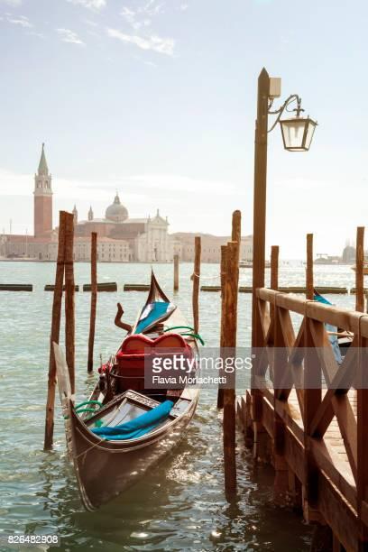 Gondola in Venice at sunrise