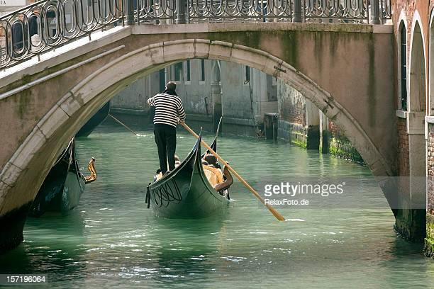 Gondola in Venice under old bridge (XXL)