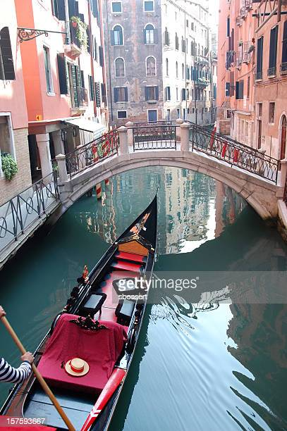 Gondola on Small Canal in Venice