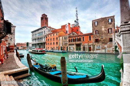 Gondola on the Venetian Lagoon at Sunset