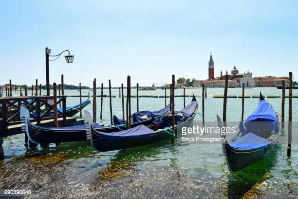 Gondola service in front of San Giorgio Maggiore island - Venice, Italy