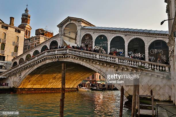 Gondolas along the Grand Canal, Venice, Rialto Br.