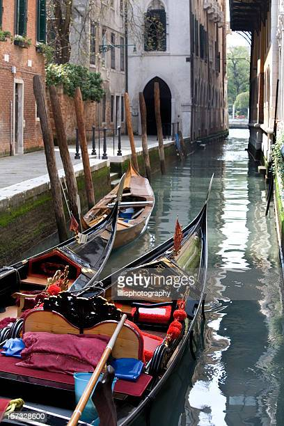 Gondolas and Canal in Venice Italy