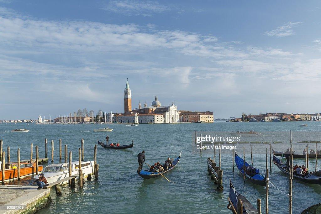 Gondolas and San Giorgio's Island at sunrise : Stock Photo