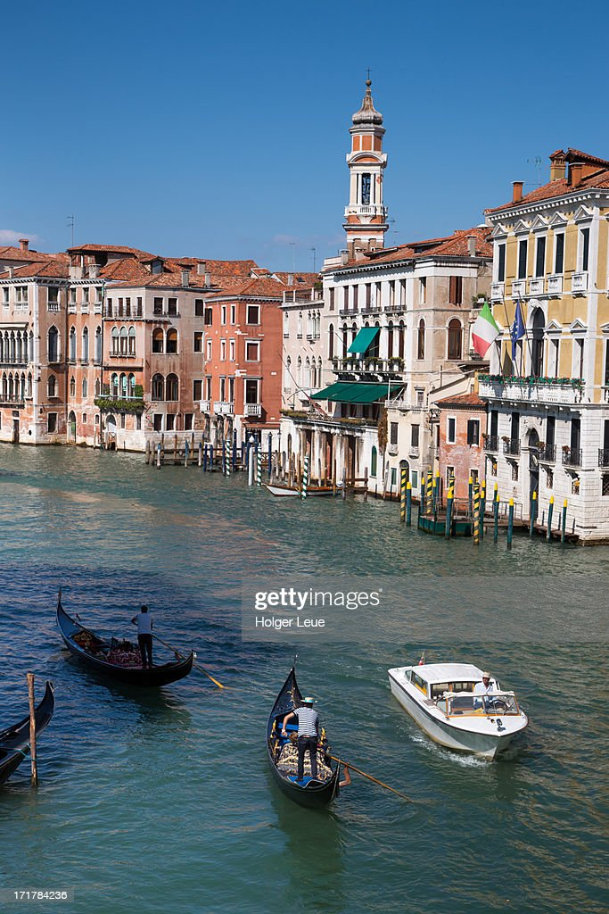 Gondolas and taxi boat on Grand Canal