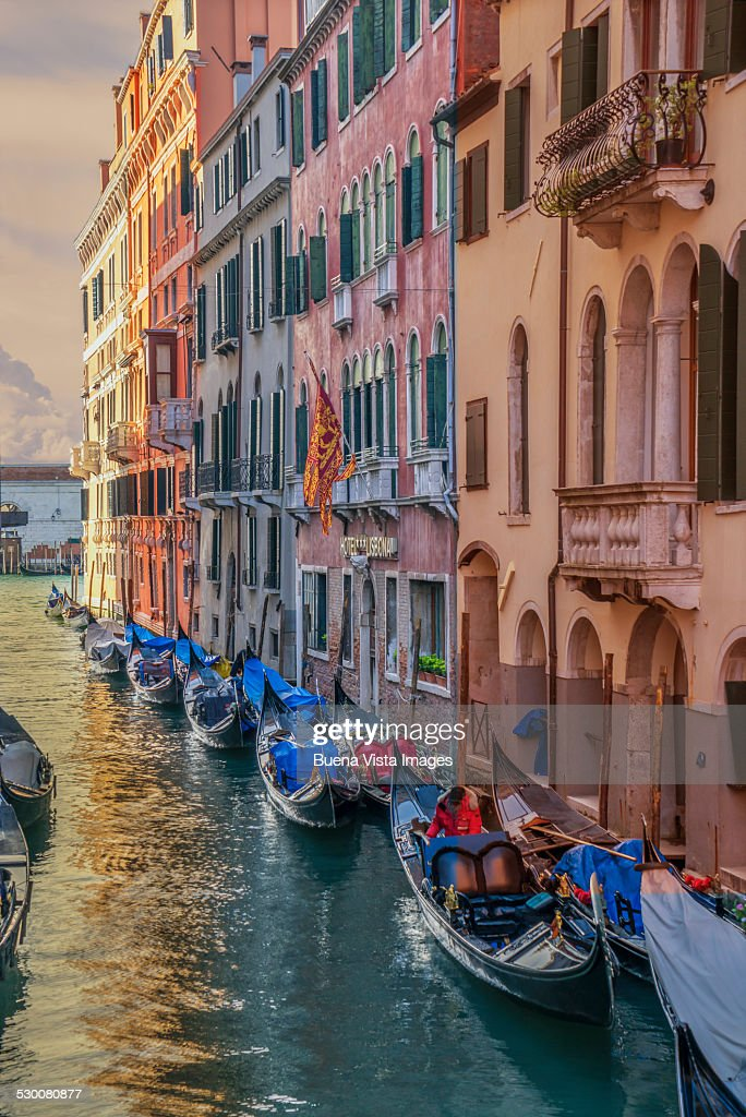 Gondolas in a small channel of Venice