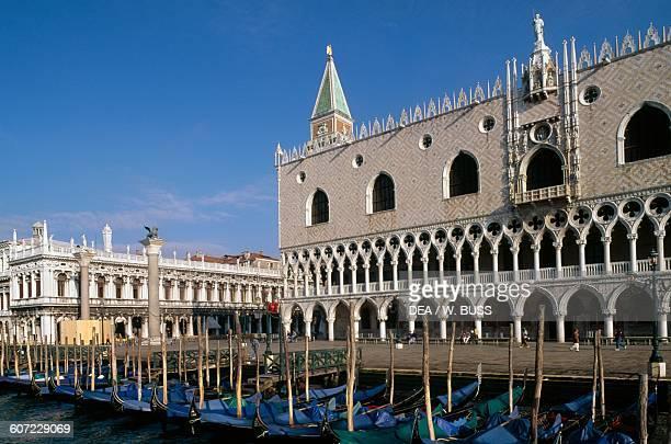 Gondolas in front of Doge's Palace Venice Veneto Italy 14th15th century