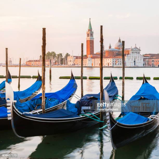 Gondolas in Venice at sunrise