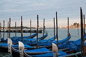 Gondolas in Venice in a sunset