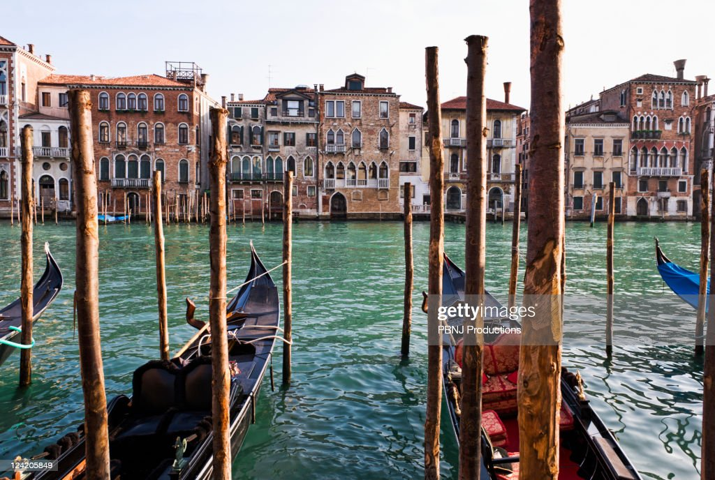 Gondolas moored in canal on wooden posts : Stock Photo