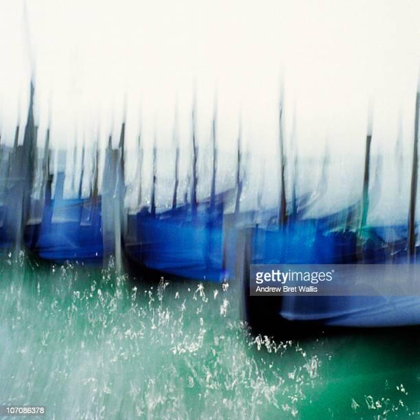 Gondolas moored in St Marks, Venice, Italy