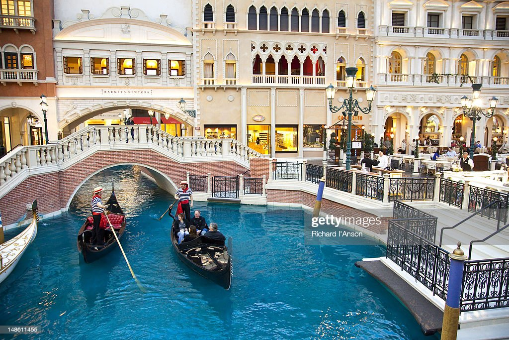 Gondolas on canal in The Venetian Hotel and Casino.