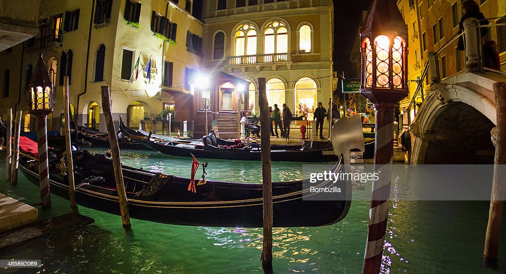 Gondolas on the canal, Venice, Italy : Stock Photo