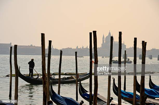 Gondolas with Santa Maria della Salute in the background, Venice, Italy, Europe
