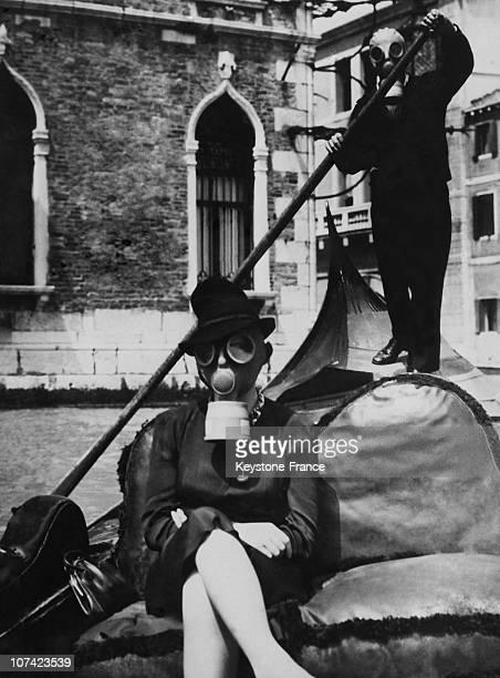 Gondolier Wearing Gas Mask In Venice On June 1939