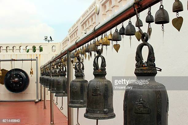 Gong and bells Golden Mount Bangkok Thailand