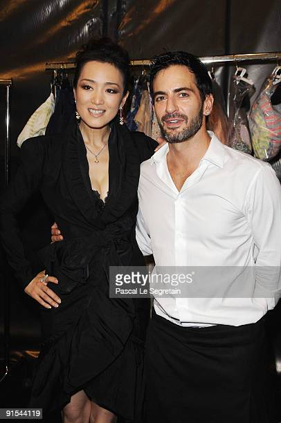 Gong Li and Marc Jacobs pose backstage Louis Vuitton Pret a Porter show as part of the Paris Womenswear Fashion Week Spring/Summer 2010 at Cour...