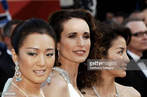 Gong Li Andie MacDowell and Michelle Yeoh during 2007 Cannes Film Festival 'Chacun Son Cinema' All Directors Premiere at Palais des Festivals in...
