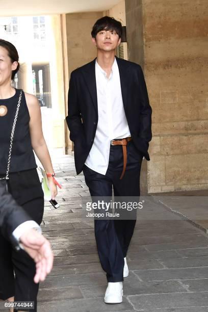 Gong Yoo is seen arriving at Louis Vuitton fashion show during Paris Fashion Week Menswear Spring/Summer 2018 on June 22 2017 in Paris France