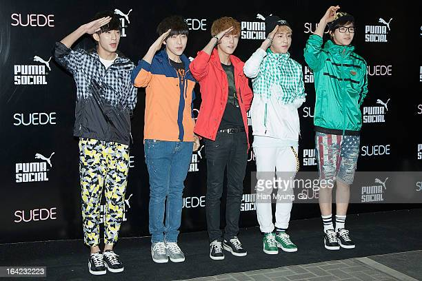 Gongchan Sandeul Jinyoung Baro and CNU of South Korean boy band B1A4 attend a promotional event for the 'PUMA Future Suede' Launching Party at Club...