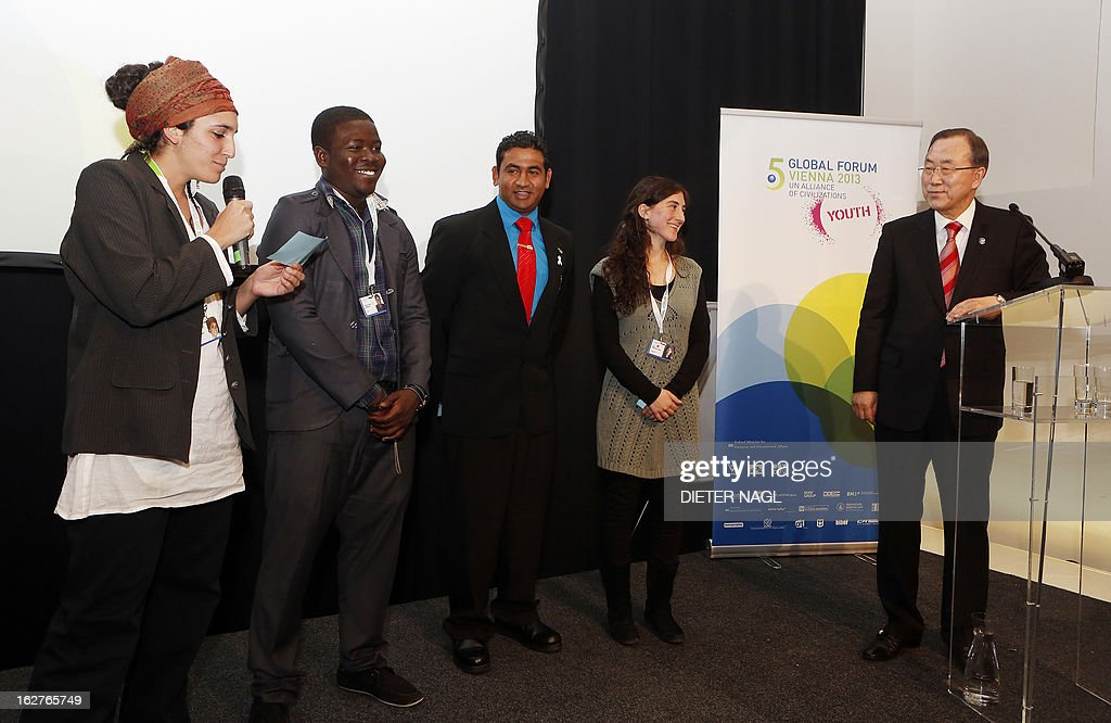 Goni Zilberrman from Jerusalem, Kowouviedem Kodjo from Togo, Arish Naresh from New Zealand and Ines Fiinchelstein from Argentina take the chance to pose questions to Secretary-General of the United Nations Ban Ki-Moon speaks at a youth meeting at the 5th Global Forum - UN Alliance of Civilizations on February 26, 2013 in Vienna.