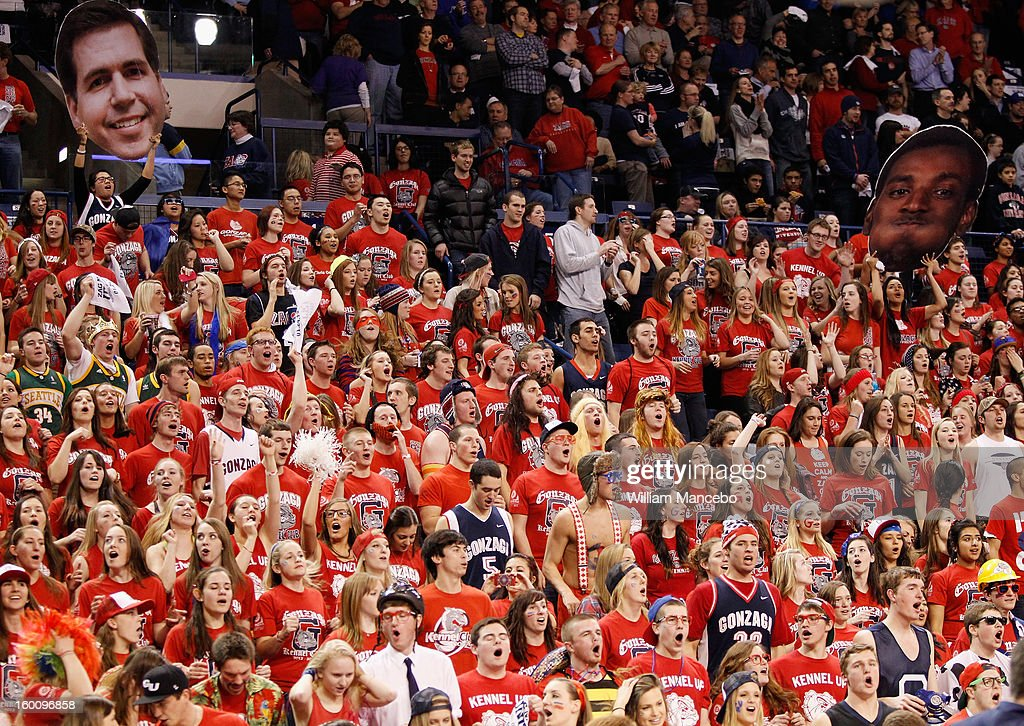 Gonzaga Bulldog fans during the game against the BYU Cougars at McCarthey Athletic Center on January 24, 2013 in Spokane, Washington.