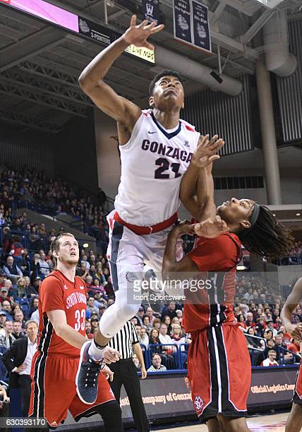 Gonzaga freshman forward Rui Hachimura goes to the floor after this shot during the game between the University of South Dakota Coyotes and the...
