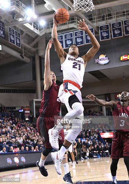 Gonzaga freshman forward Rui Hachimura goes up to dunk during the game between the Loyola Marymount Lions and the Gonzaga Bulldogs on January 12 2017...