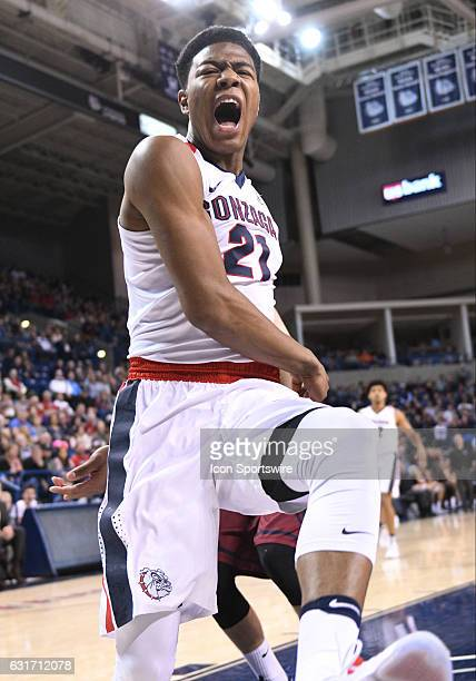 Gonzaga freshman forward Rui Hachimura shows some emotion after throwing down a dunk during the game between the Loyola Marymount Lions and the...