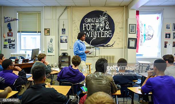Gonzaga linebacker Kyle Taylor hosts a monthly poetry slam at the school on October 22 2015 in Washington DC