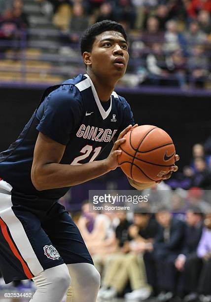 Gonzaga University freshman forward Rui Hachimura readies to shoot a free throw during a West Coast Conference NCAA basketball game between the...