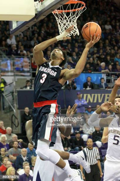 Gonzaga's Johnathan Williams drives to the basket against Washington Gonzaga won 9770 over Washington on December 10 2017 at Alaska Airlines Arena in...