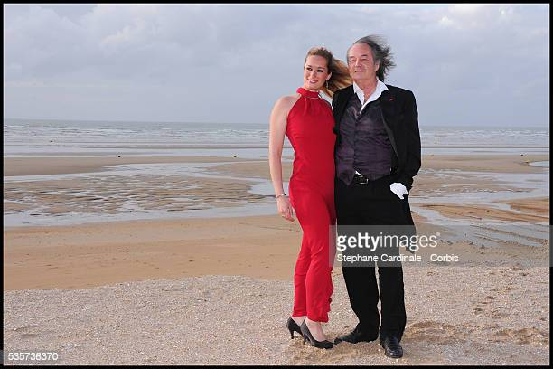 Gonzague Saint Bris and guest pose as they attend the 25th Cabourg Film Festival in Cabourg