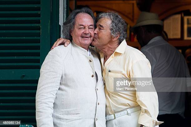 Gonzague Saint Bris and Pierre Perret attend the 2Oth 'La Foret des Livres' book fair on August 30 2015 in ChanceauxpresLoches France