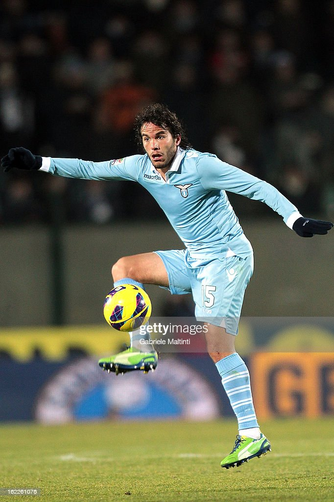 Gonzalez Luengo Alvaro Rafael of SS Lazio in action during the Serie A match between AC Siena and S.S. Lazio at Stadio Artemio Franchi on February 18, 2013 in Siena, Italy.